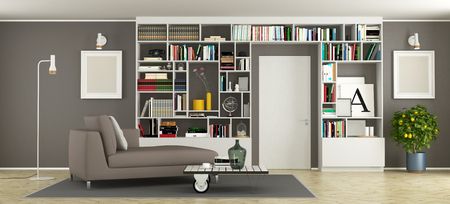 Modern living room with bookcase, day bed and closed door - 3d rendering