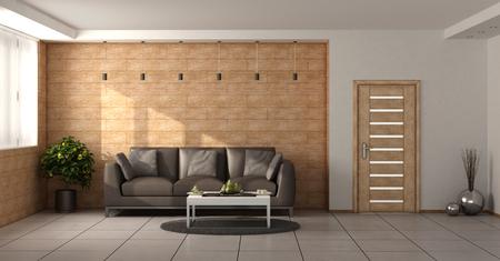 木製の壁、茶色のソファ、閉鎖されたドアが備わり、モダンなリビングルーム - 3Dレンダリング 写真素材
