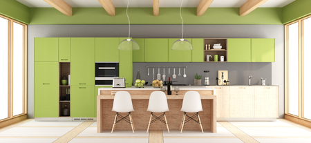 Green and gray modern kitchen with island and chairs - 3d rendering