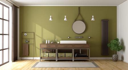 Green bathroom with washbasin,radiator and large window - 3d rendering Standard-Bild