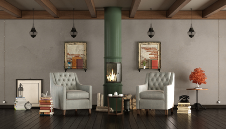 Vintage living room qith wooden stove and two armchairs - 3d rendering Standard-Bild