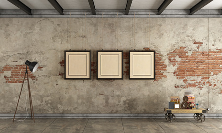 Empty old room with old wall, blank frame and floor lamp - 3d rendering