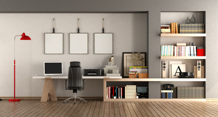 Modern home workplace with desk and bookcase - 3d rendering Standard-Bild