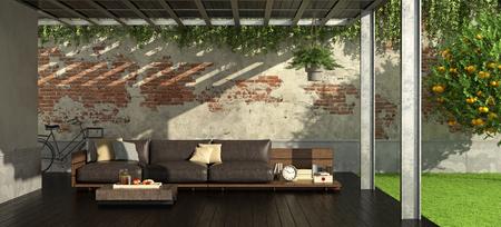 Garden with iron pergola and rustic style sofa - 3d rendering Standard-Bild