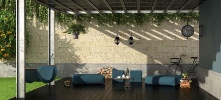 Jardin avec pergola en fer, tabouret et hamac - rendu 3D