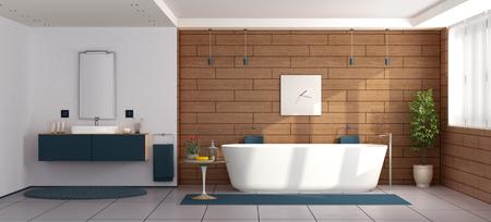 Modern bathroom with bathtub and washbasin-3d rendering
