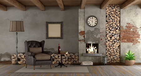 Retro living room with fireplace and classic armchair - 3d rendering Standard-Bild