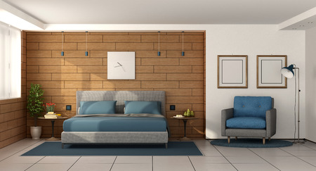 Modern master bedroom with double bed on wooden wall - 3d rendering