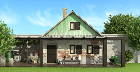 Old country house with garden - 3d rendering