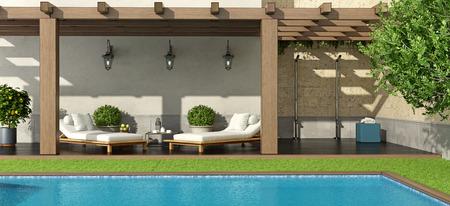 Jardin de luxe avec pergola et piscine - rendu 3D