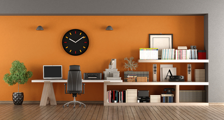 Modern home workplace with desk , bookcase and orange wall - 3d rendering Standard-Bild