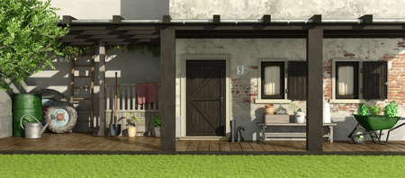 Old house with patio, wooden pergola and gardening equipment 3d rendering Archivio Fotografico