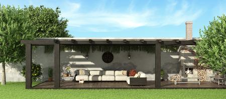 Garden with wooden pergola ,sofa and fireplace - 3d rendering Standard-Bild