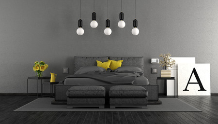Minimalist master bedroom with black double bed and gray wall - 3d rendering Standard-Bild