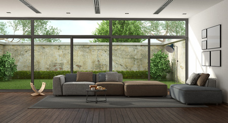 Minimalist living room with garden on background - 3d rendering