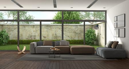 Salone minimalista con il giardino su fondo - rappresentazione 3d