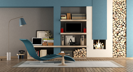 Blue and brown living room with fireplace,chaise lounge and tv set - 3d rendering Фото со стока