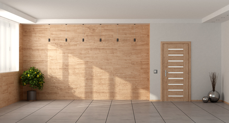 Empty minimalist living room with wooden wall and closed door - 3d rendering