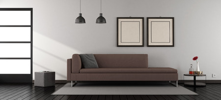 Minimalist living room with brown sofa and window - 3d rendering