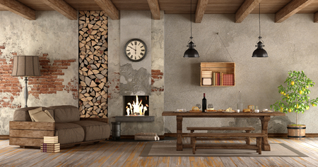 Living Room With Fireplace In Rustic Style With Sofa And Dining Table   3d  Rendering Stock