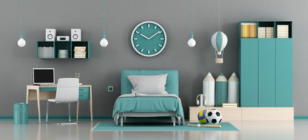 Blue and gray kids room with bed and desk - 3d rendering