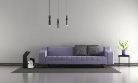 Minimalist living room with purple sofa - 3d rendering Фото со стока