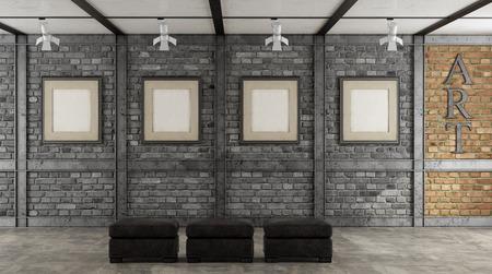 Art gallery in a loft with blank frame on black brick wall - 3d rendering Фото со стока