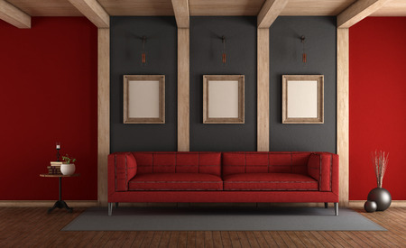 Red and gray elegant living room with fabric sofa and wooden beams - 3d rendering Фото со стока