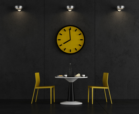 Black and yellow coffee room with table,chair and big clock - 3d rendering Фото со стока