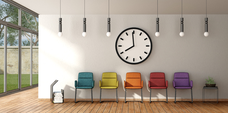 Waiting room with colorful chairs on white wall with big clock - 3d rendering