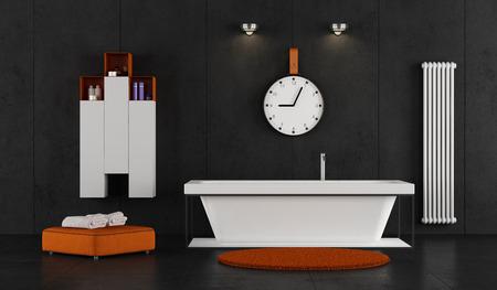 Minimalist bathroom with bathtub on black concrete wall - 3d rendering
