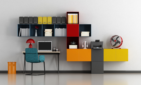 Colorful home office with desk and bookcase - 3d rendering Фото со стока