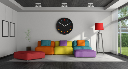 Black and white living room with colorful sofa - 3d rendering Фото со стока