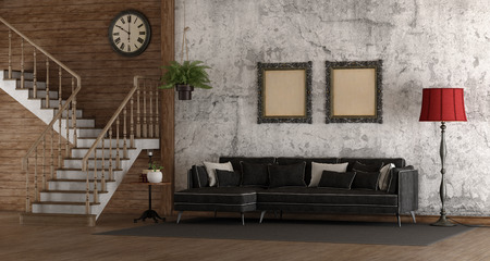 Retro room with stair and black sofa on grunge wall - 3d rendering