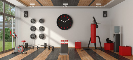 Home gym with punching bag,cyle and other fitness equipment - 3d rendering