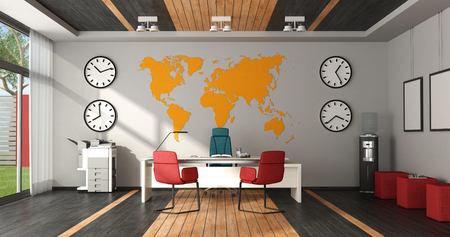 Modern colorful office with desk, chairs and office objects - 3d rendering Stock Photo