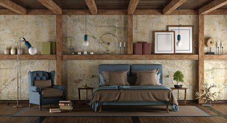Master bedroom in rustic style with double bed and armchair - 3d rendering Фото со стока