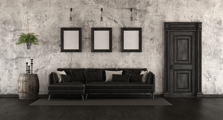 Black and white old room with elegant sofa and grunge wall - 3d rendering