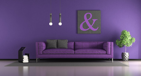Purple living room with fabric sofa - 3d rendering