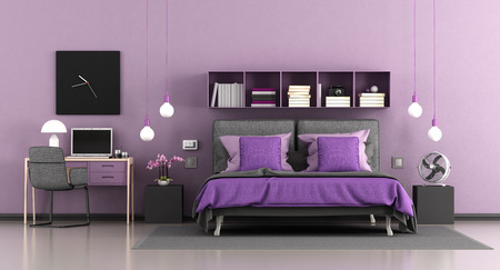 Purple modern master bedroom with double bed and desk with laptop - 3d rendering