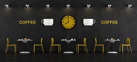 Black and yellow coffee bar with round table and chairs - 3d rendering Фото со стока