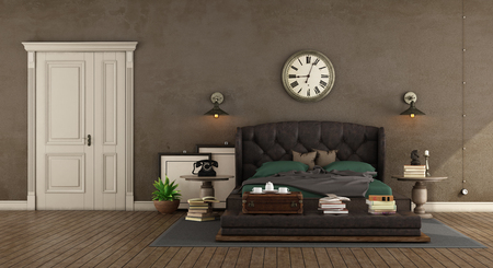 Retro master baedroom with leather bed,vintage objects and closed door - 3d rendering