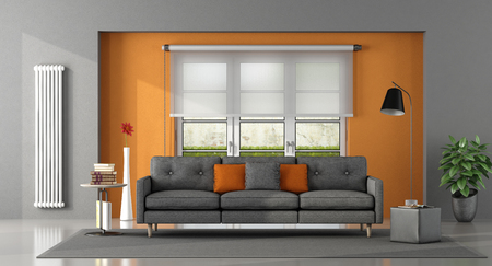 Gray orange living room with sofa and window on background - 3d rendering Фото со стока