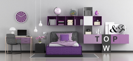 Purple bedroom for girl with bed,desk and bookcase - 3d rendering