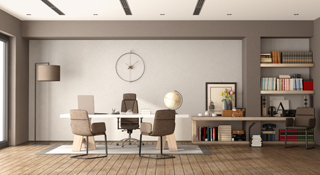 White and brown modern office with desk,chairs and bookcase - 3d rendering Фото со стока