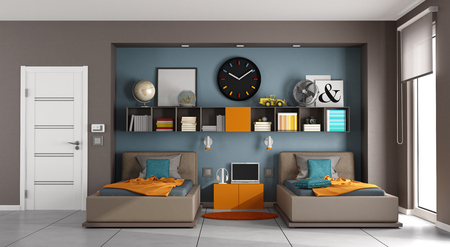 Colorful kids room with two singles bed aand bookcase - 3d rendering Фото со стока