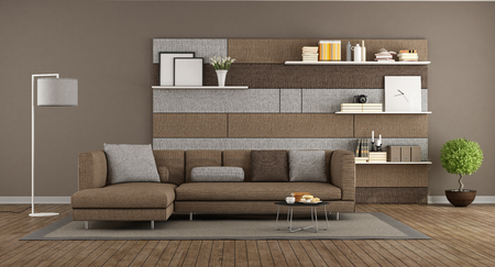 Modern brown and gray living room with sofa and and fabric panel whit shelves on background - 3d rendering