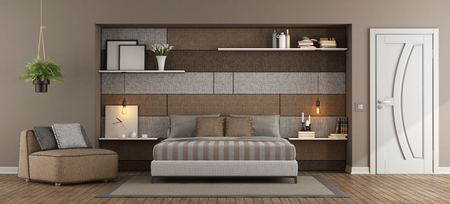 Modern maaster bedroom with double bed and fabric panel whit shelves on background - 3d rendering Фото со стока