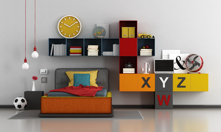 Colorful teen room with bed and bookcase - 3d rendering Фото со стока