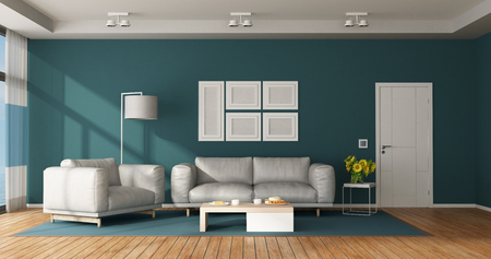 Blue and white modern living room with leather sofa, armchair and closed door - 3d rendering